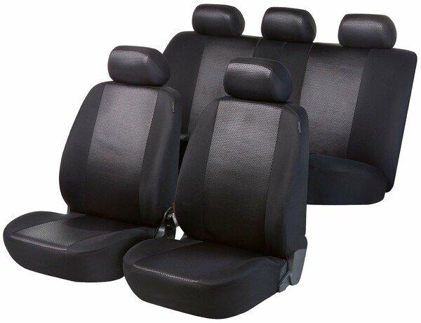 Housses de sièges noir brillant ensemble complet pour les sièges avant et arrière
