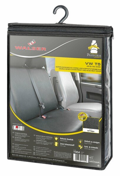 Car Seat covers for VW T5 double bench in the front made of imitation leather foldable from year of construction 09/2009 - today
