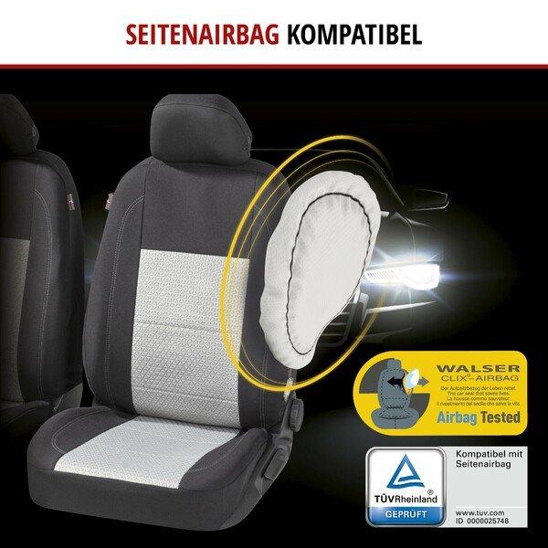 ZIPP IT Premium Autositzbezüge Avignon für zwei Vordersitze mit Reißverschluss-System schwarz/silber