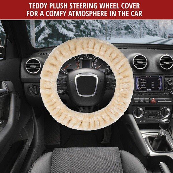 Steering wheel cover Teddy Plush faux fur vegan beige