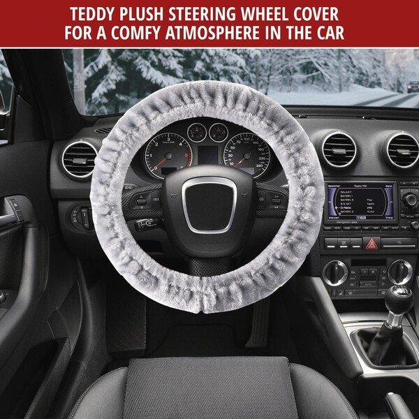 Steering wheel cover Teddy Plush silver