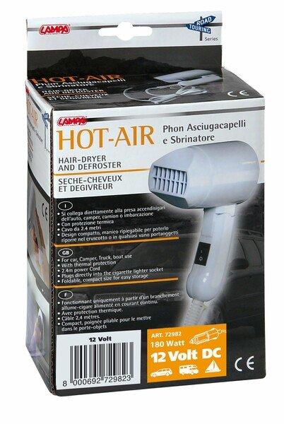 Hairdryer and de-icer for windscreen de-icing