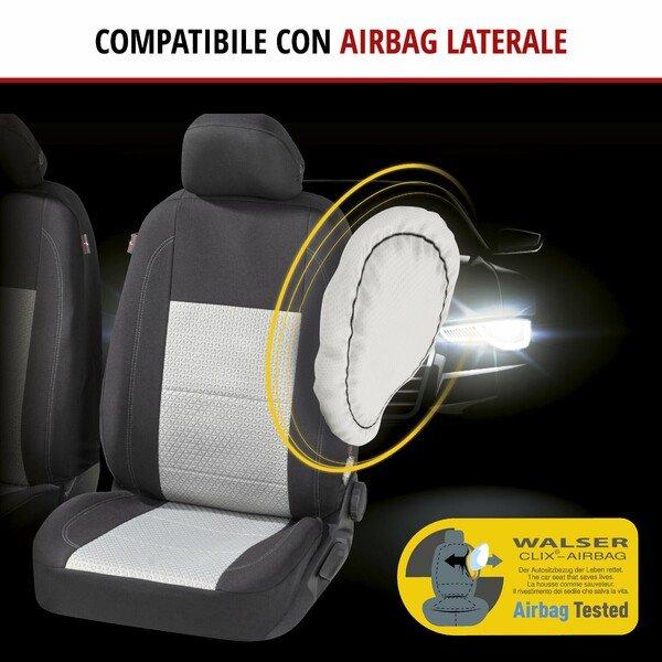 ZIPP IT Premium Coprisedili Avignon per due sedili anteriori con sistema di chiusura lampo nero/argento