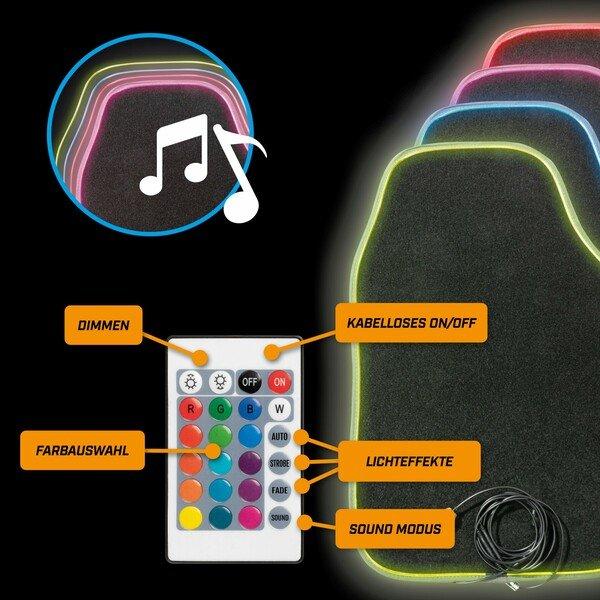 LED-Autoteppich Ambiente mit Farbauswahl, verschiedenen Lichtfunktionen und Fernbedienung für Ambientebeleuchtung