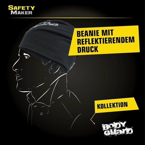 Wende Beanie, Mütze, Sportmütze reflektierend schwarz-silber