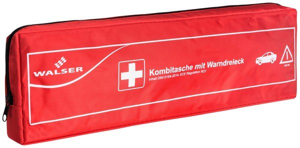 Car first-aid bag Kombi 2 red with warning triangle according to DIN 13164