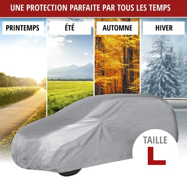 Bâche pour voiture All Weather Light taille L garage complet gris clair