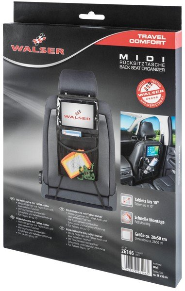 Rücksitztasche Midi mit Tablet-Halter schwarz