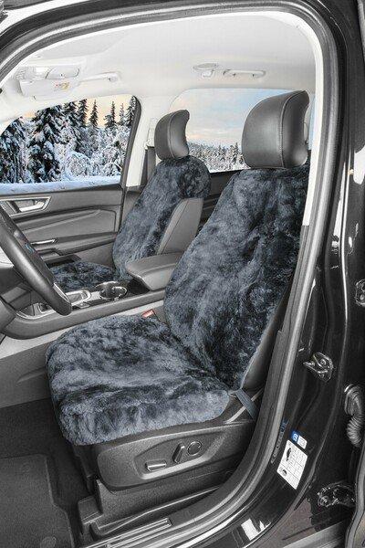 Autositzbezug Shauna aus Lammfell mit 20mm Wollhöhe - 2 Stück anthrazit mit ZIPP IT System