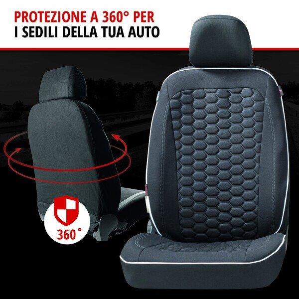 ZIPP IT Premium Coprisedili Kendal per due sedili anteriori con sistema di chiusura lampo nero/bianco