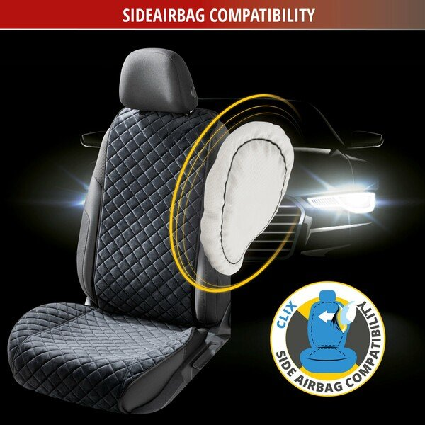 Seat cover Comfortline Luxor front seat with side bolster protection