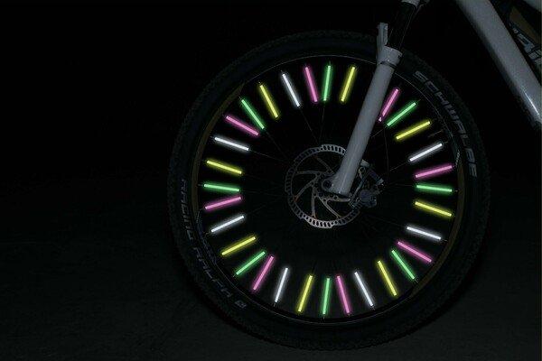 Spoke sticks 36 pieces green/pink/silver/gold reflective