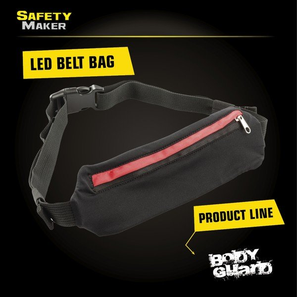 LED belt pouch black red