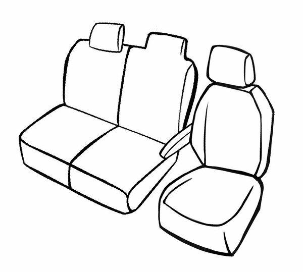 Premium Autositzbezug für Fiat Talento 06/2016-Heute, 1 Einzelsitzbezug vorne + Armlehnenbezug, 1 Doppelbankbezug Lehne und Bank