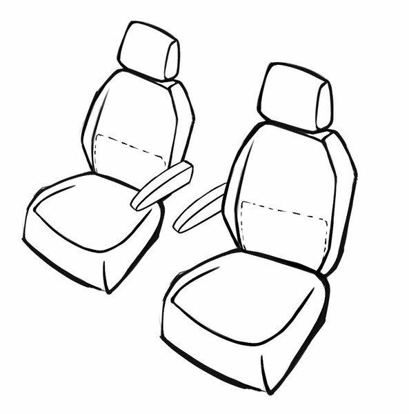 Passform Sitzbezug Bari für Mercedes-Benz VITO Mixto W447 10/2014-Heute, 2 Einzelsitzbezüge für Normalsitze