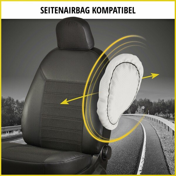 Premium Autositzbezug aus Stoff für Citroen Berlingo 2 Einzelsitz und Doppelbank vorne ab Baujahr 2009 - heute