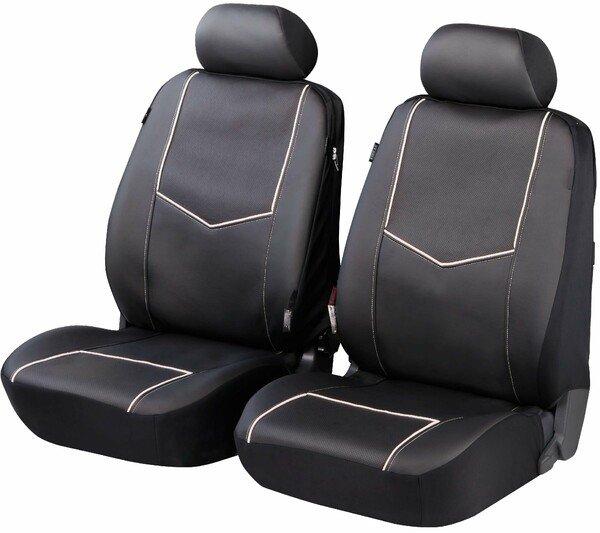 ZIPP IT Deluxe York - Housses de sièges en simili cuir pour deux sièges avant avec système de fermeture éclair