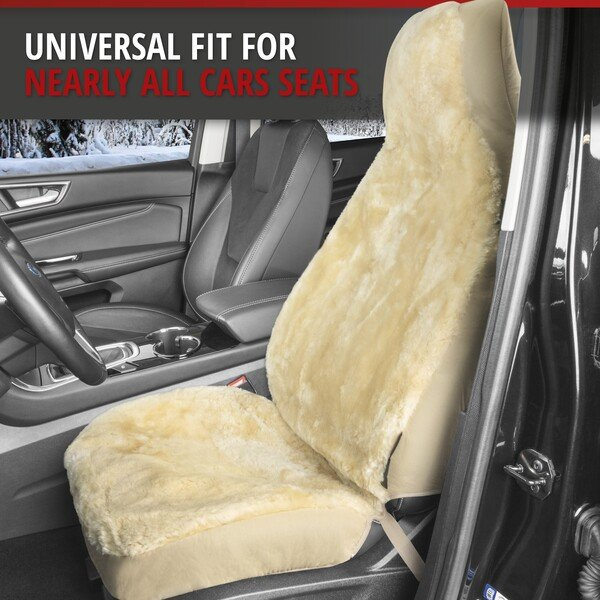 Car Seat cover Zoya made of lambskin beige with ZIPP IT system for highback seat