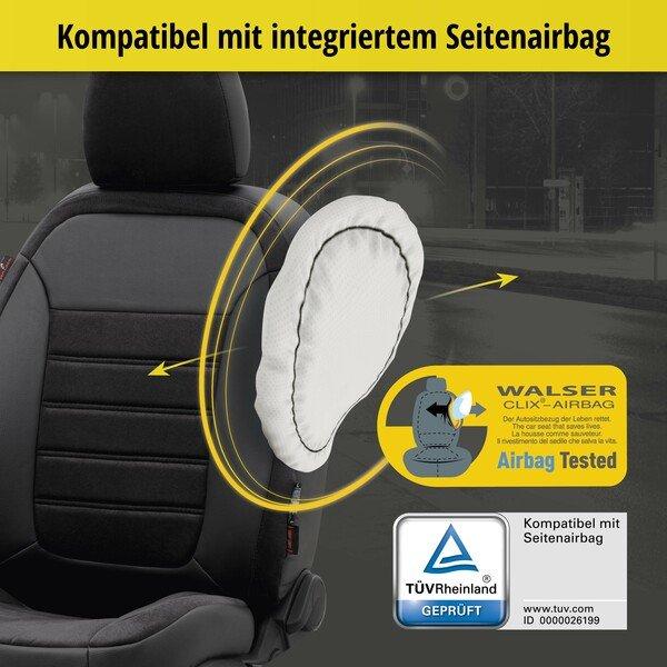 Passform Sitzbezug Bari für Renault Captur I (J5, H5) Baujahr 06/2013-Heute, 2 Einzelsitzbezüge für Normalsitze