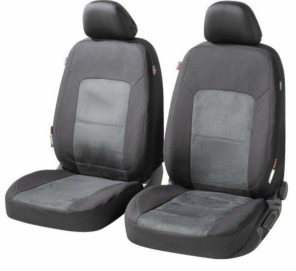 ZIPP IT Premium Autositzbezüge Ellington für zwei Vordersitze mit Reißverschluss-System schwarz/grau
