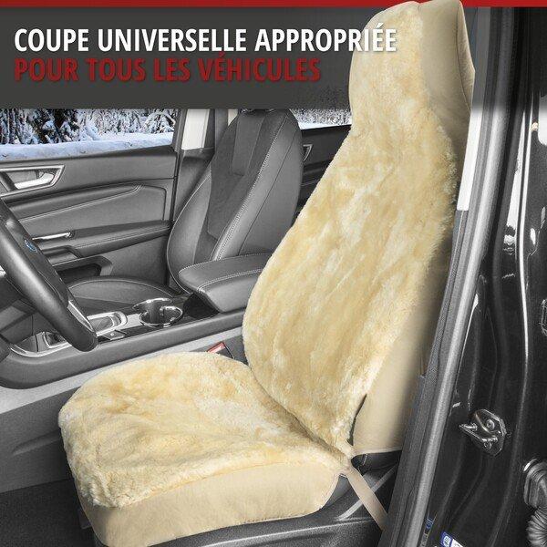 Housses de sièges Zoya en agneau beige avec système informatique ZIPP pour siège à haut dossier