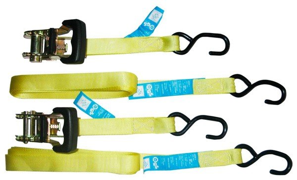 load belt 4,5m/25mm - 2x with hook and 2x with hook and ratchet 300daN