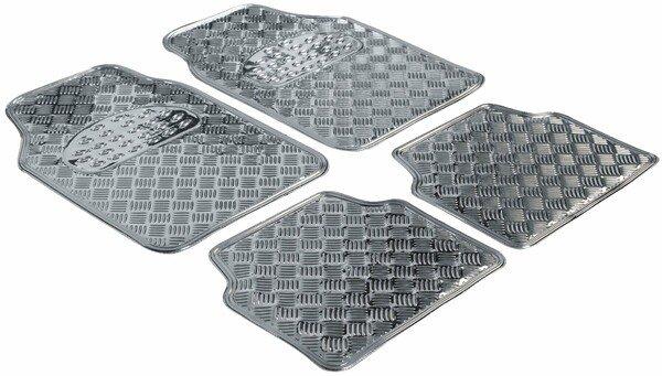 Car Rubber matss Metallic checker plate look silver maxi