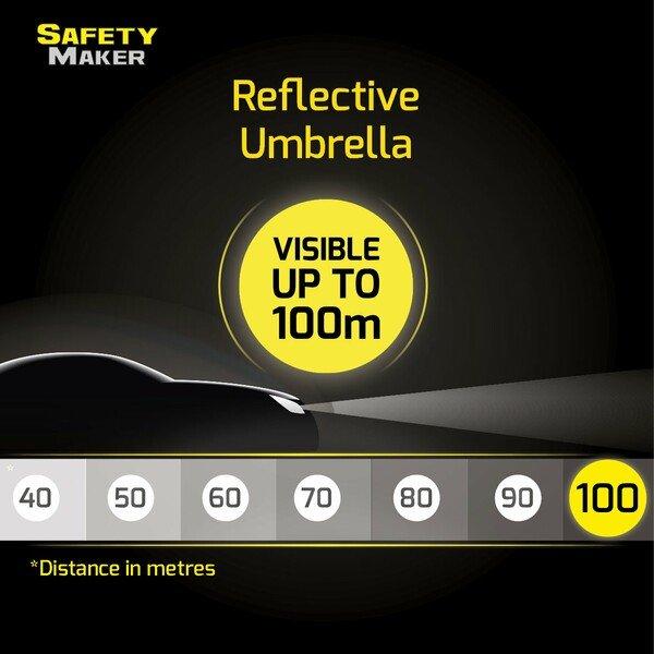 Travel umbrella reflective silver