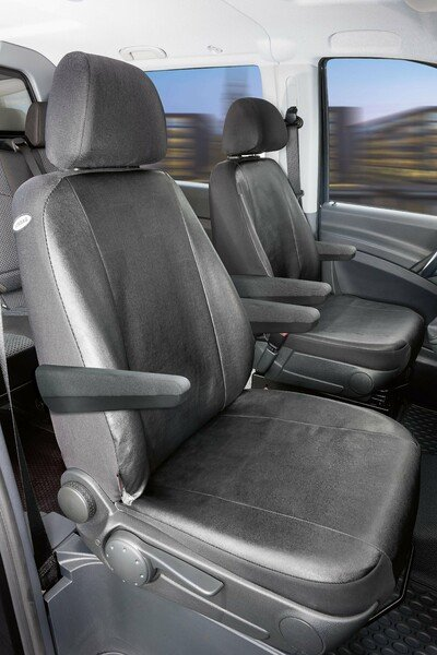 Car Seat covers for Mercedes-Benz Vito and Viano (W639) 2 single seats Armrest inside and outside soft leatherette