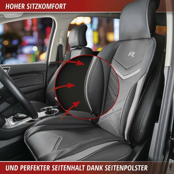 PKW Sitzauflage Rey schwarz-grau