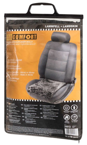 siège de voiture housse en agneau noir molly 12-14 mm hauteur de la fourrure