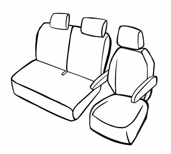 Premium Autositzbezug für VW Crafter 2016-Heute, 1 Einzelsitzbezug vorne + Armlehnenbezug, 1 Doppelbankbezug