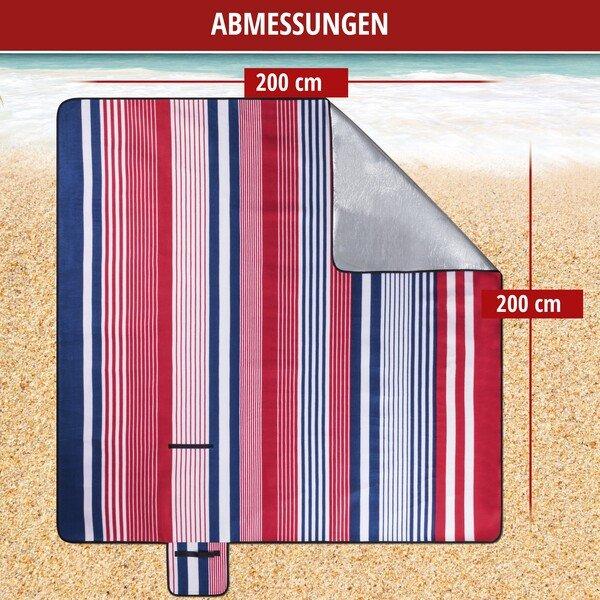Reisedecke mit Aluminium Rückseite rot/blau gestreift 200x200cm