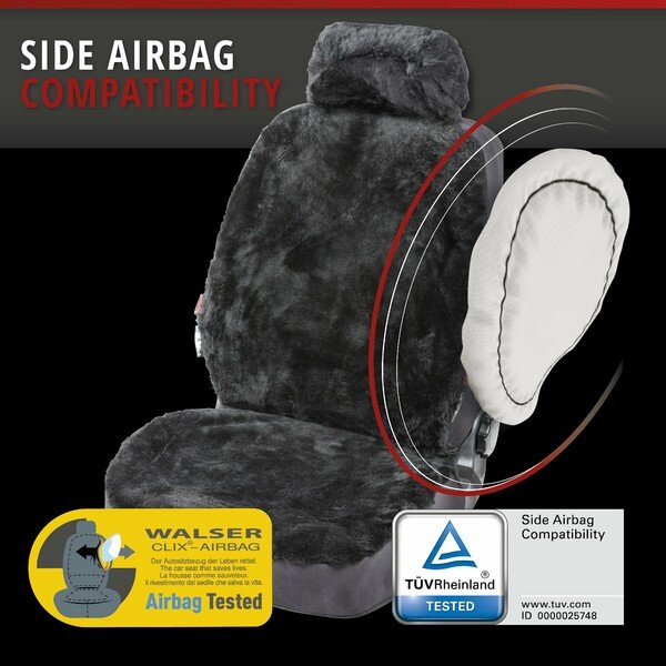 Car Seat cover Iva made of lambskin black with ZIPP IT system