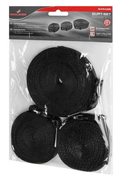 Lashing strap set for car tarpaulins 3 pieces black