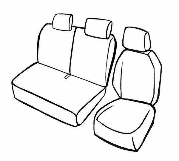 Premium Autositzbezug für Iveco Daily V 2011-02/2014, 1 Einzelsitzbezug vorne, 1 Doppelbankbezug