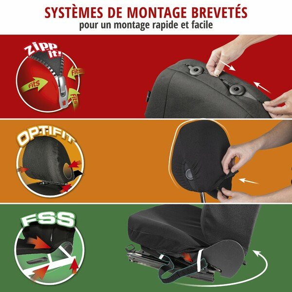 ZIPP IT Premium Housse de sièges Avignon pour deux sièges avant avec système de fermeture éclair noir/argent