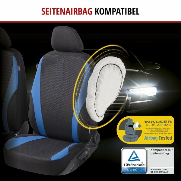 ZIPP IT Autositzbezüge Dundee Komplettset mit Reißverschluss-System schwarz/blau