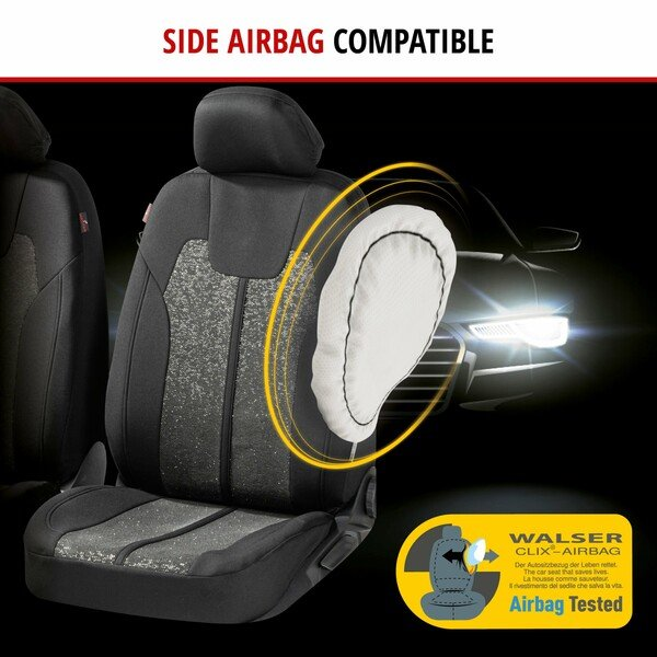 ZIPP IT Car seat covers Corso for two front seats with zip-system black/silver