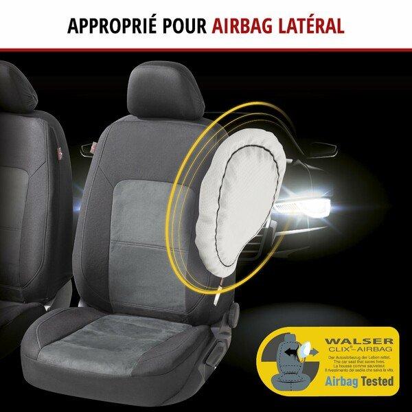 ZIPP IT Premium Housse de sièges Ellington pour deux sièges avant avec système de fermeture éclair noir/gris