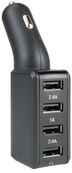 Caricabatterie USB per auto/auto 4 porte - Adattatore 12/24V in nero