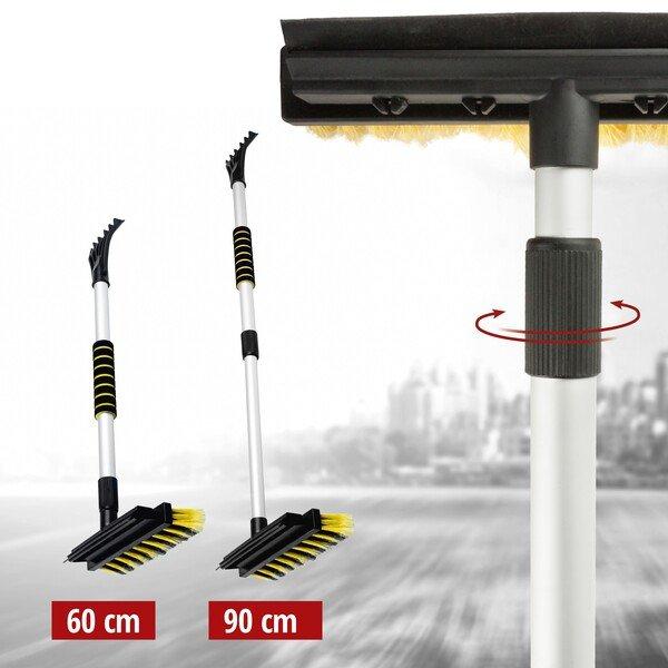 3in1 spazzola con raschietto per ghiaccio e labbro in gomma telescopico 60-90 cm