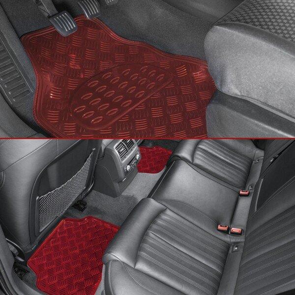 Car Rubber matss Metallic checker plate look red maxi