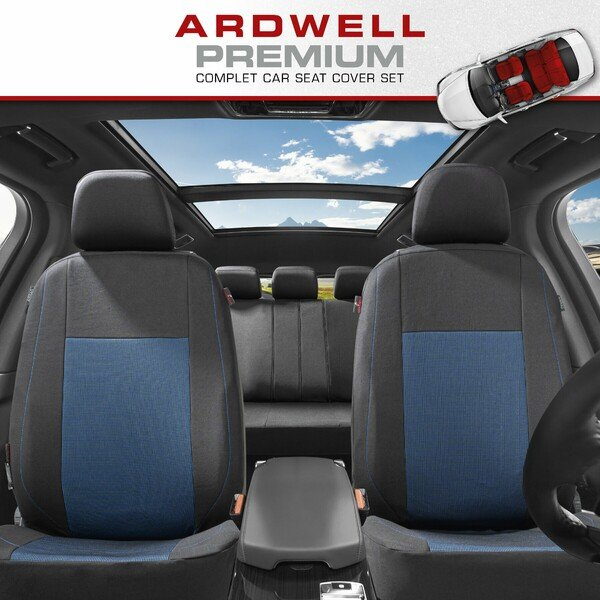ZIPP IT Premium Car seat covers Ardwell complete set with zip-system black/blue