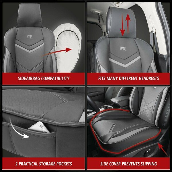Rey car seat cushion in black-grey