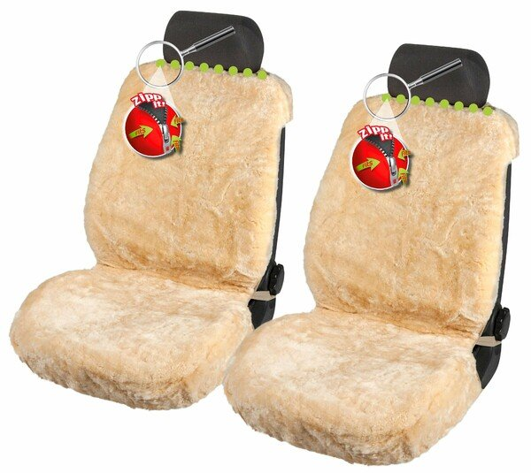 Shauna lambskin car seat cover, 20mm thick wool pile - 2 pieces in beige with ZIPP system