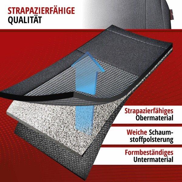 ZIPP IT Premium Autositzbezüge Ardwell für zwei Vordersitze mit Reißverschluss-System schwarz/grau