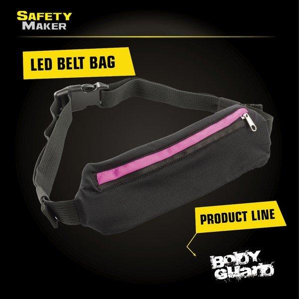 LED belt bag black pink