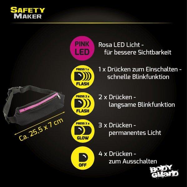 LED Gürteltasche schwarz pink