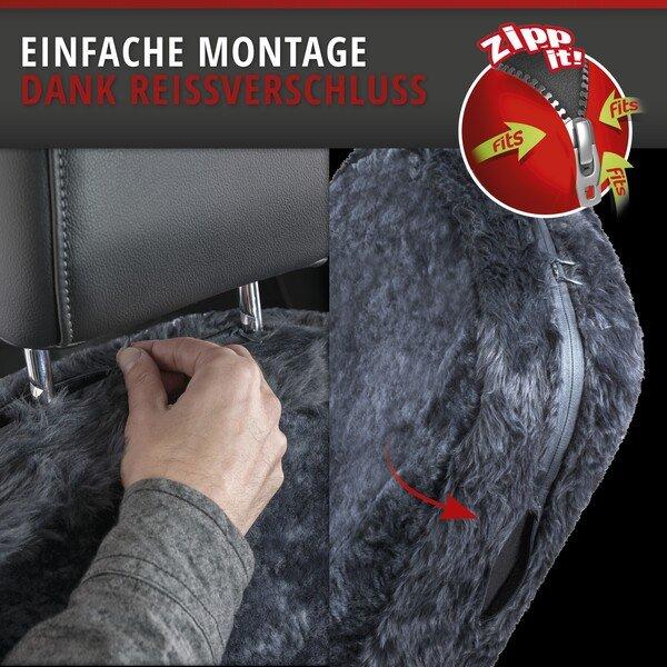 Housses de sièges Monette en agneau anthracite avec système informatique ZIPP